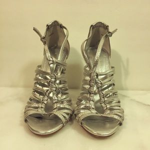 BCBG Shoes - BCBG BCBGeneration Silver Strappy Sandals Size 5.5